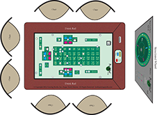 Touch sensitive Pig Wheel playing surface allowing players to move their chips on a virtual layout