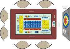 Touch sensitive Tri-Wheel® playing surface allowing players to move their chips on a virtual layout